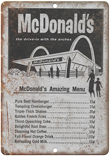 "Adkult Vintage McDonald's Original Menu 12"" x 9"" Retro Look Metal Sign N13"