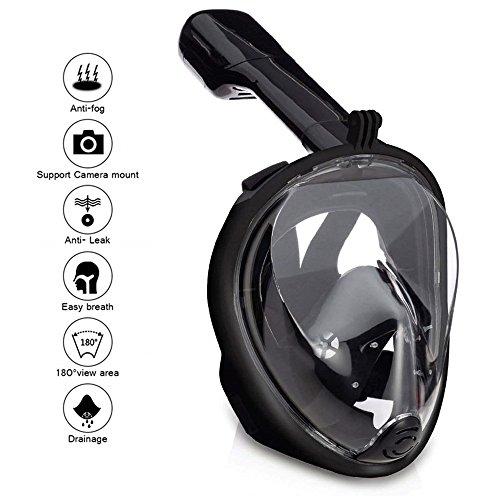 Wsobue Máscara de Buceo, Gafas Snorkel 180° Panorámica Vista Anti-Niebla Apoyo Camara Deportiva, Anti-Fugas Máscara de Snorkel para Adultos y niños (Negro S/M)