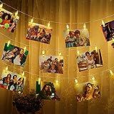 Foto Clip Cadena de Luces LED, 6m 40 LEDs, Alimentado por Batería, Decoración de Fotos y Día de Navidad (Blanco Cálido)