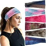 6Pcs Boho Headbands for Women Tie Dye Elastic Headbands Yoga...