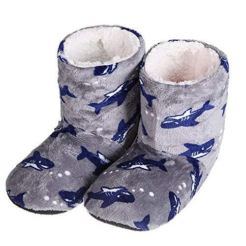 HAIBI Zapatillas Calcetines Invierno Caliente Largo Tubo Casero Zapatillas Mujeres Tiburón Animal Imagen Suave Fondo Antideslizante Interior Calcetines De Piso De Felpa, Gary,40