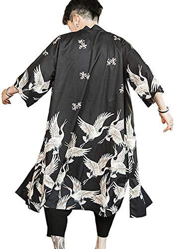 FLY FLU Haori Vintage, Yukata Haori Uomo Giapponese Kimono Cardigan Uomo Samurai Costume Abbigliamento Giacca Kimono Mens Camicia Kimono Yukata Haori,A-UKL/Asia4XL:Bust:53.1in