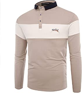 neveraway Men Color Conjoin Embroidery Basic Cotton Long Sleeve Slim Tailoring Polo