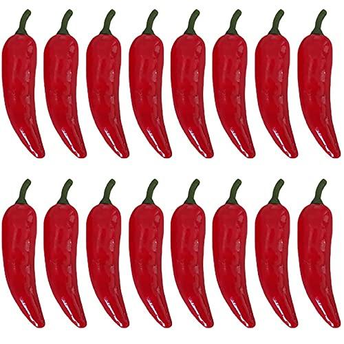RONRONS 50 Stück künstliche Chilischoten künstliche Gemüse Dekor lebensecht chinesische rote Chili Home Küche Dekorationen Faux Obst Fotografie Requisiten Schrank Ornament Display