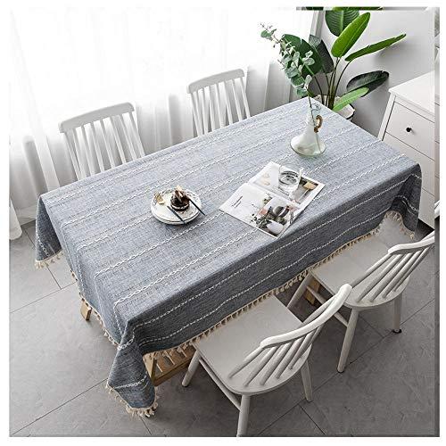 Mantel Mesa Rectangular Algodon Lino con Borlas, 80x80cm Mantel Antimanchas Manteles para Cocina Comedor Mesa Buffet Mantel de la Tabla