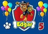 OBLEA de Chase Patrulla Canina Personalizada con Nombre y Edad para Pastel o Tarta, Especial para cumpleaños, Medida Rectangular de 28x20cm