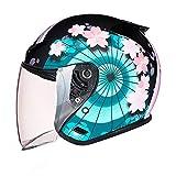 Motorcycle Half Helmet,Adult Casco Moto Jet Motorcycle Helmet Men Women Half Face Motorbike Helmet for Biker Chopper Cruiser Scooter Moto Cap with Visor ECE Approved J,M