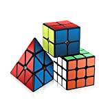 Speed Cube Set, Roxenda Magic Cube Set of 2x2x2 3x3x3 Pyramid Smooth Puzzle Cube