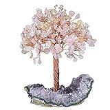 KYEYGWO Árbol de cristal curativo Reiki en 3 colores de amatista natural, base en bruto de piedra para dinero, Feng Shui, bonsái, decoración para casa, buena suerte, riqueza