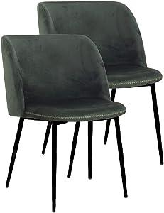 cooleswo hnen 2Diseño de Acolchado sillas de Estilo Retro escandinavo, Funda de Terciopelo Velvet Color Verde Oscuro, Patas de Metal SC