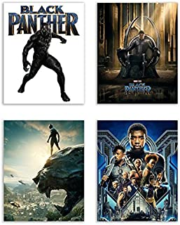 Black Panther (2018) Movie Poster Prints - Set of 4 Avengers Marvel Comics Wakanda Decor Wall Art Photos 8x10