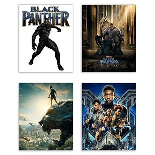 Black Panther (2018) Movie Poster Prints - Set of 4 Avengers Marvel Comics Wakanda Decor Wall Art Photos 8x10