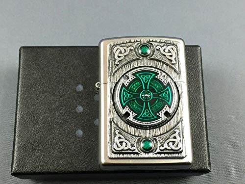 Zippo Feuerzeug, Chrom, Satin finish (CELTIC GREEN CROSS), 5.8 x 3.8 x 1.8 cm