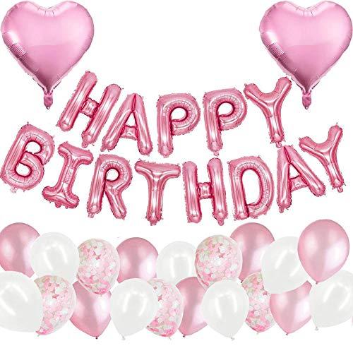 MAKFORT Geburtstagsdeko Rosa Happy Birthday Folienballons Girlande mit Konfetti Luftballons Rosa Für Geburtstag Partydeko Mädchen und Frauen