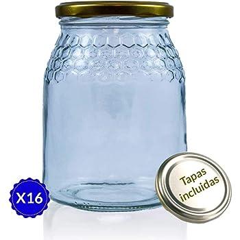 Tarros de Cristal para Miel de 1kg tarros Miel con Cierre hermético Pack de envases para Miel con Tapas Incluidas .Tarro para Miel con Grabado de celdillas en el Vidrio. (16 Unidades):