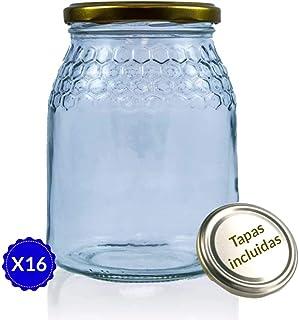 Tarros de Cristal para Miel de 1kg tarros Miel con Cierre hermético Pack de envases para Miel con Tapas Incluidas .Tarro para Miel con Grabado de celdillas en el Vidrio. (16 Unidades)