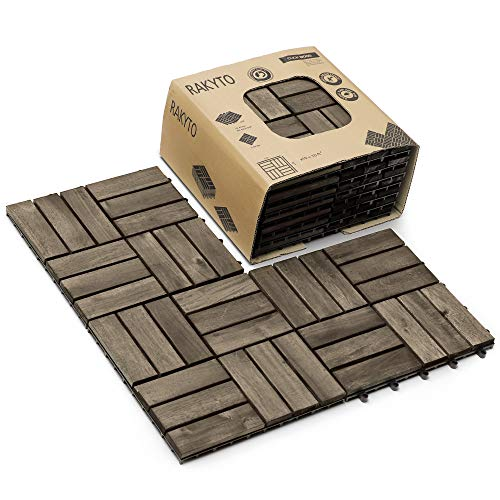 Hard Wood Interlocking Flooring Tiles (Pack of 10, 12