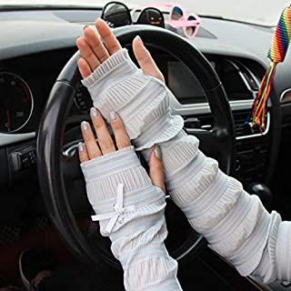 Summer Lady Lace Silk Gloves Printed Long Sleeves Anti-UV Sun Fingerless Arm Multicolor - White
