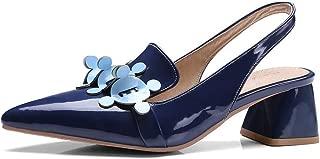 BalaMasa Womens ASL06377 Leather Block Heels