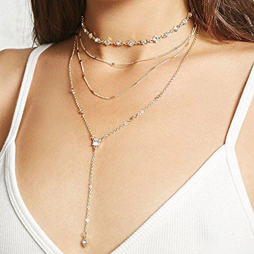 Sethain Boho Layered Strass collana girocollo Collana Oro Scintillante Pendente Catena Cristallo Lungo Collane Gioielleria per donne e ragazze