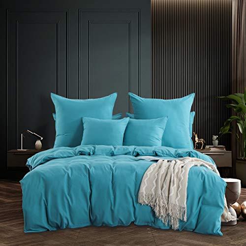 RUIKASI - Funda nórdica de 200 x 200 cm, diseño de pavo real, color azul