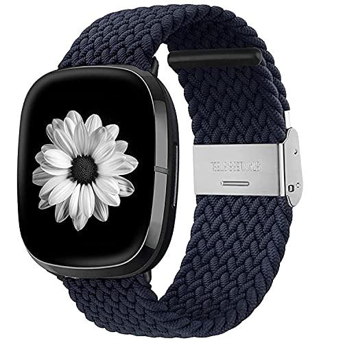 Zoholl Compatible con Fitbit Sense / Fitbit Versa 3 Correa, elástica, transpirable, suave Nylon Kinitting Sport Reemplazo para reloj inteligente Versa 3 para mujeres y hombres