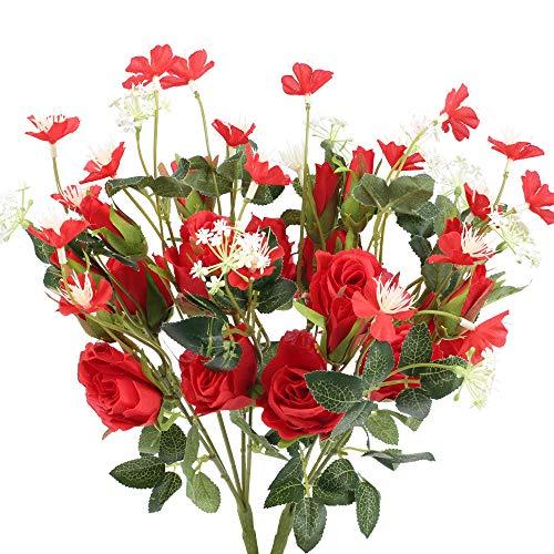 NAHUAA Flores Artificiales Rosas 2 Piezas Ramo de Flores Falsos de Seda para decoración del Hogar Fiesta Boda Jardín Arreglo Floral Centros de Mesa