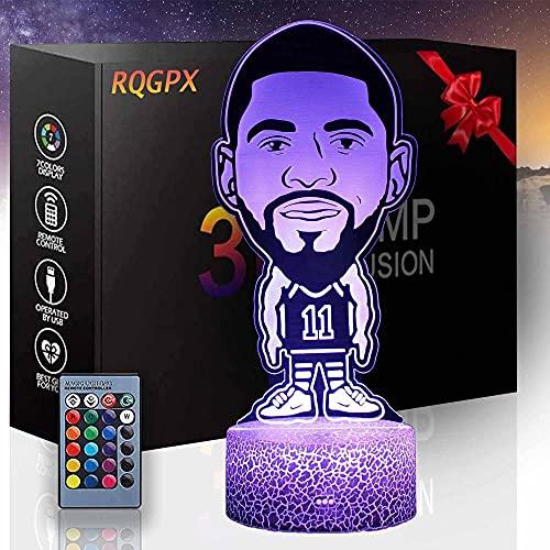 3D luz nocturna para niños jugador de baloncesto D 3D ilusión lámpara 16 colores cambiantes luz nocturna con control remoto, regalo de cumpleaños para niños