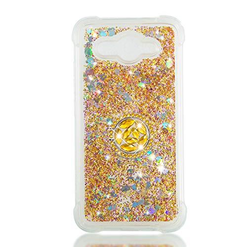 FNBK Kompatibel mit Huawei Y3 2017 /Y5 Lite 2017 Hülle,Silikon Glitzer Bling Strass Quicksand Diamant Tasche [360 Grad Ring Ständer] TPU Klar Handyhülle Case für Huawei Y3 2017 /Y5 Lite 2017, Golden