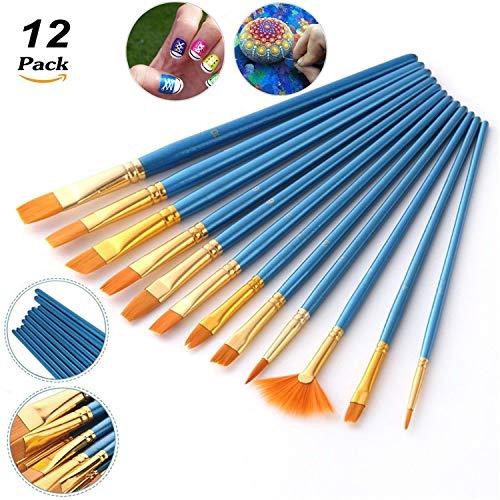 LIZHIGE 12 Flach Pinselset Malen, Künstlerpinsel Borstenpinsel für Aquarell, Acryl & Ölgemälde usw. Perfektes Pinsel Set für Anfänger, Kinder, Künstler und Gemälde Liebhaber (Blau)