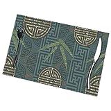 Mantel Individual Manteles individuales hechos a mano de bambú, auténtica composición de estilo asiático con motivos orientales, hojas, verde azulado oriental, marfil, mantel tostado 30X45CM