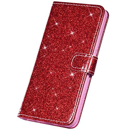 Surakey - Funda de piel con tapa para Huawei Honor 7A, rojo
