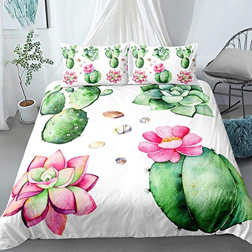 Juego de ropa de cama con diseño de cactus suculentas para decoración del hogar