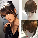 Clip in Bangs 100% Real Human Hair Extensions Clip on Fringe Bangs Natural Flat neat Bangs with Temples for Women One Piece Hairpiece for Daily Wear (MIddle Brown)