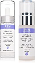 REN Skincare Keep Young and Beautiful Instant Firming Beauty Shot and Brightening Beauty Shot Eye Lift Bundle With Vitamin E, Rosa Flower Oil and Water, 1.02 fl. oz. and 0.5 fl. oz. Each