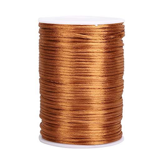 HERCHR Collar de cordón de satén de Nailon, Hilo de Adorno de Cola de Rata para Anudado Chino, fabricación de Joyas de Abalorios DIY(marrón)