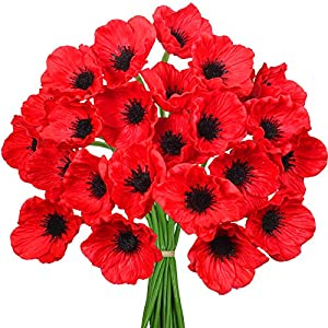 24pcs Poppies Artificial Flowers for Wedding Home & Kitchen PU