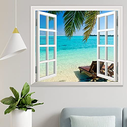 DKISEE Deck Chairs On The Beach 3D Window View Wall Decal Wallpaper 17x20 Inch - Peel and Stick Mural Art Wall Decal Sticker for Livingroom Bedroom Nursery - wpw496