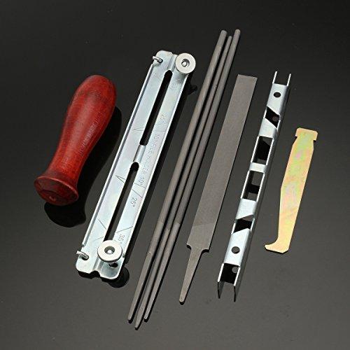 EsportsMJJ 8 stks kettingzaag slijpen kit File diepte gauge File Board Slot Cleaner Houten handvat