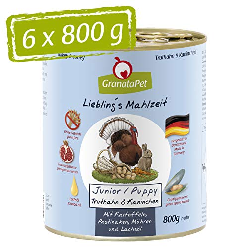 GranataPet Liebling's Mahlzeit Truthahn & Kaninchen Junior, Nassfutter für Hunde, Hundefutter ohne Getreide & ohne Zuckerzusätze, Alleinfuttermittel, 6 x 800 g
