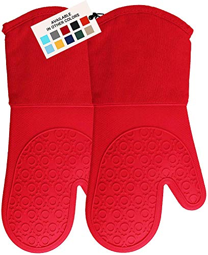 HOMWE Professional Silicone Oven Mitt, Oven Mitts with Quilted Liner, Heat Resistant Pot Holders, Flexible Oven Gloves, Canyon Red, 1 Pair, 13.7 Inch