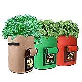 GudGmtoy - Bolsas de cultivo de patatas, bolsas de cultivo de plantas, paquete de 3, bolsas de cultivo de flores y plantas con ventana y asa, bolsas de cultivo de hortalizas de jardín (4 galones)