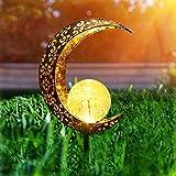 Herefun Solarlampe für Außen, Solar Mond Lampe LED Gartenfahlständer Solarleuchte, Solarleuchten Mond Gartenlampe...