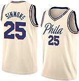WSUN Camiseta De La NBA para Hombre - 76Ers 25# Ben Simmons Camisetas De Baloncesto NBA - Camiseta Deportiva De Baloncesto Sin Mangas Transpirable De Ocio,A,S(165~170CM/50~65KG)