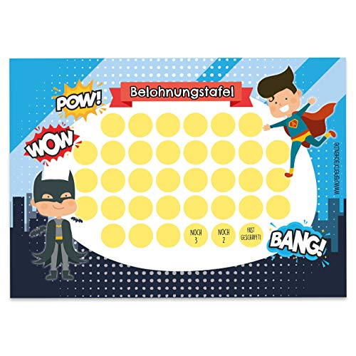 Papierdrachen Belohnungstafel Set für Kinder als Abreißblock 10 Blatt - Motivierendes Konzept als Erziehungshilfe - mit tollen Stickern für Jungs und Mädchen - Motiv Superhelden Jungs Set 9