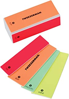 Tweezerman Neon Hot 4-In-1 File, Buff, Smooth & Shine Block Model No. 3491-R