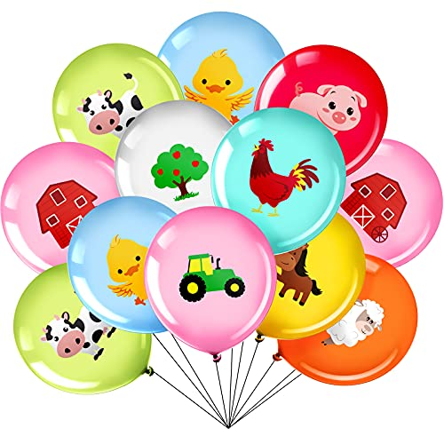 36 Pieces 12 Inch Farm Animal Balloons  Pig Cow Sheep Latex Balloons Tractor Barnyard Animal Farmhouse Party Decoration for Kids Baby Shower Farm Animal Themed Birthday Party Favors Indoor Outdoor