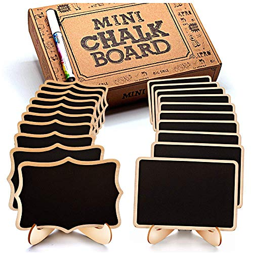 Mini Chalkboard Signs: Best Mini Blackboards with Stand – Perfect Erasable Rectangle Chalk Boards for Menu on the Table – Great Message Board for Wedding & Birthday Parties – 20 Pcs