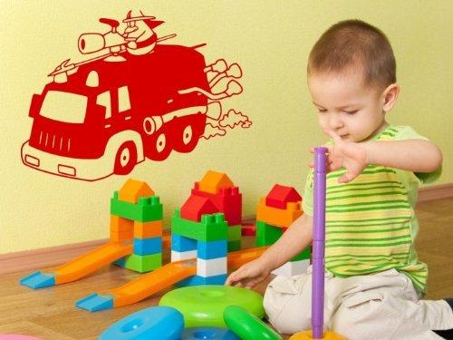 Funny Fire Engine Enfants/pour Enfants Sticker Mural, Rouge Fraise, Medium: 45cm x 60cm