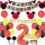 Decoraciones temáticas de 2ºcumpleaños de Mickey, pancartas de Oh Twodles y feliz cumpleaños, globo de papel de aluminio número 2 y adorno de torta, bolas de panal negras y rojas para cumpleaños